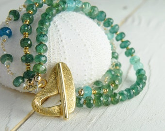 Apatite Strand Bracelet with Heart Toggle, Valentine Jewelry, Apatite Jewelry Sale