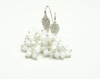 White Jade Cluster Earrings in Sterling Silver, Dazzling White Bridal Earrings in Sterling Silver, Bridal Earring Ideas