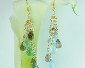 Sky Blue Topaz Earrings in 18K Gold/ 18K Gold Earrings/Bridal Earring Collection