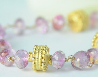 Pink Topaz Necklace in Vermeil, Pink Topaz Statement Necklace, Pink Bridal Jewelry