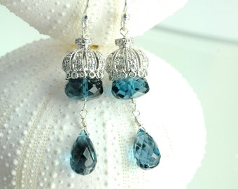 Bridal Jewelry, London Blue Topaz Earrings, Jewelry,  Bridesmaid Jewelry, Stunning, Sterling Silver, Something Blue