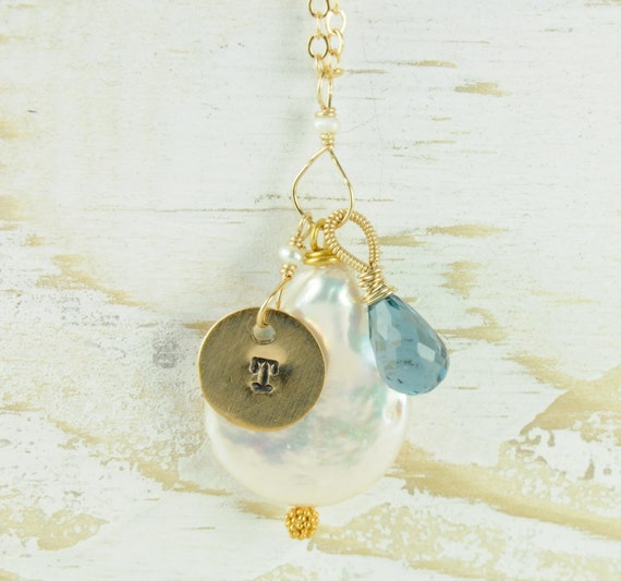 Personalized Penny Pearl Necklace with Initial for Mothers Day