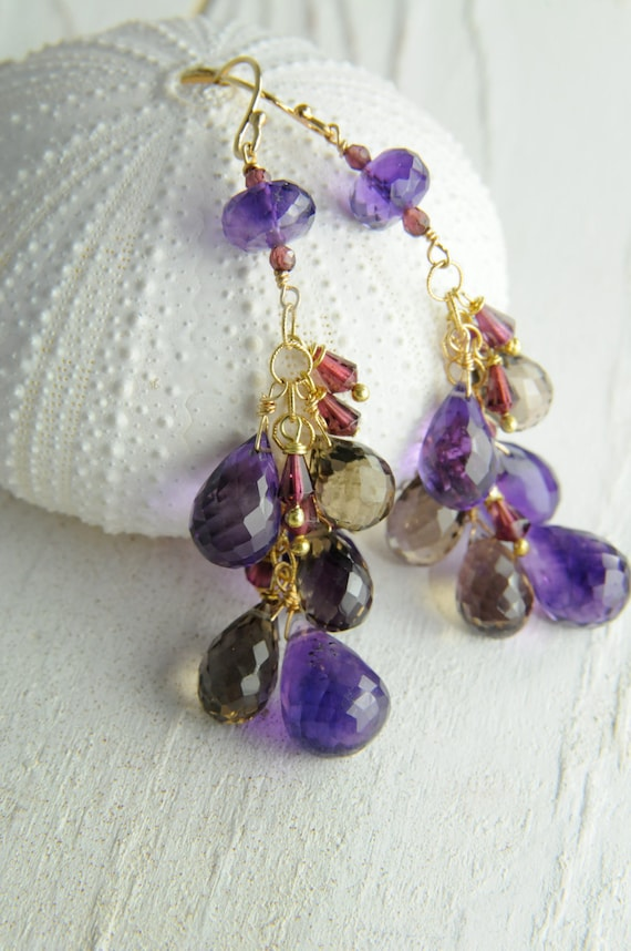 Amethyst and Topaz Fall  Earrings on Etsy