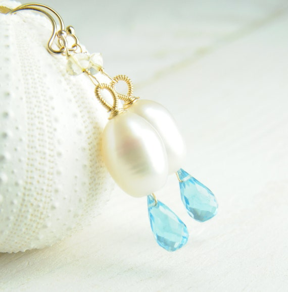 White Pearl Dangle Earrings with Sky Blue Topaz/Bridesmaid Blue Topaz Earrings/Pearl And Topaz Bridal Earrings