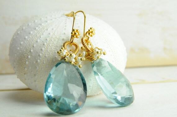 Mint statement bridal earrings
