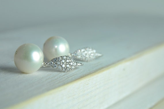 Sparkling Pearl Earrings in Sterling Silver:) Bridal Collections