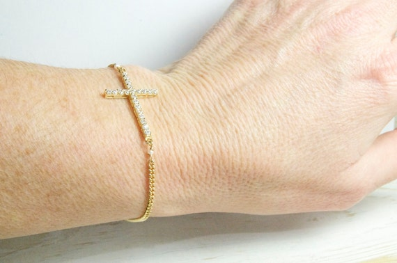 Crystal Side Cross Bracelet in Gold, Cross Jewelry, Graduation Gifts, Mothers Day Gifts, Bridesmaid Gifts and Favors