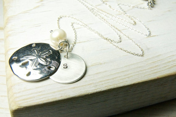 Weddings, Wedding Party, Sand Dollar Necklace, Beach Wedding Monogrammed Necklace with Sand Dollar Charms