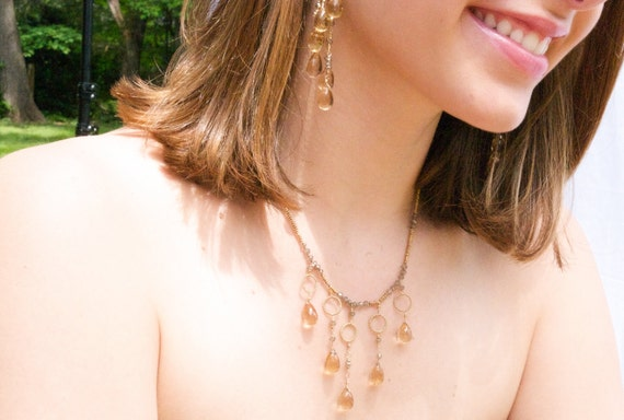 On Sale, Sample Sale, Bridal Jewelry, Princess necklace, jewelry, Smokey Topaz Drop, Necklace with Vermeil Rounds in Gold
