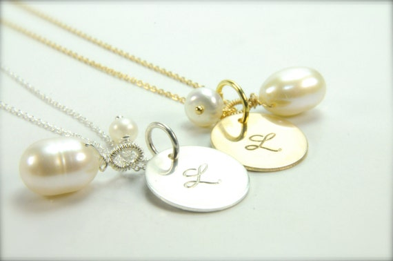 Dainty Pearl Initial Necklace/ June Birthday Ideas/ Single Pearl Necklace with Initial Pendant/ For Her, Holiday Gifts for Her