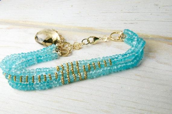 Apatite Strand Bracelet/Bridal Jewelry/Lillyput Lane Design Company