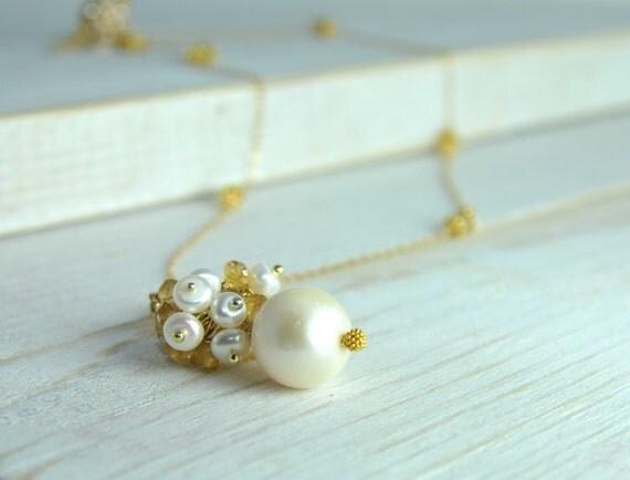 On Sale, Sample Sale, Weddings, Bridal Pearl Drop Necklace, Pearl Drop Necklace, Single Pearl Cluster Necklace