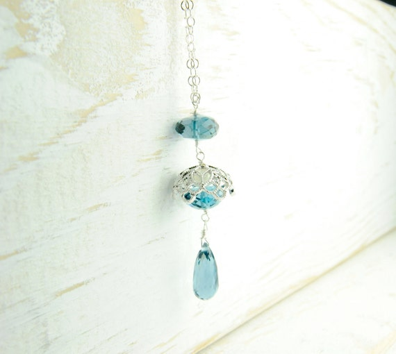 Dainty London Blue Simple Pendant in Sterling Silver/ Simple Blue Necklace with Lace Bead Cap
