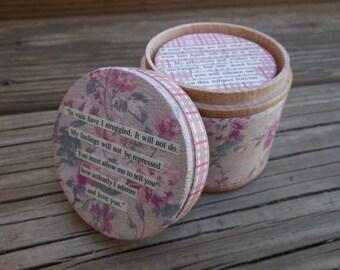OOAK, Unique Pride & Prejudice Round Wooden Nesting Boxes