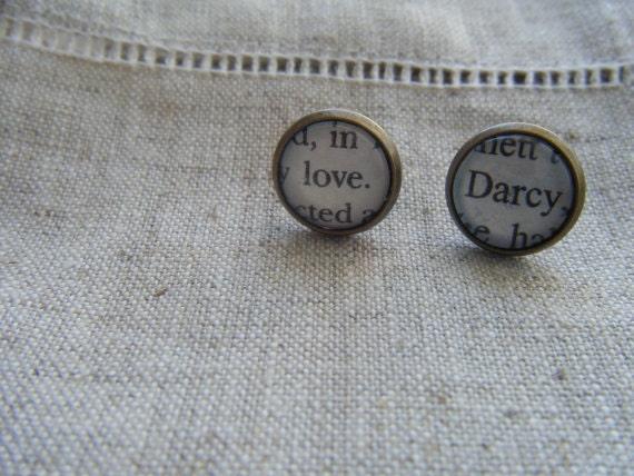 Antiqued Bronze Pride and Prejudice Stud Earrings (Love Darcy)