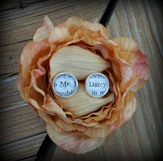 Silver Plated Pride and Prejudice Stud Earrings (Mr. Darcy)