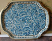 Mid Century English Toleware Tray In Blue Paisley