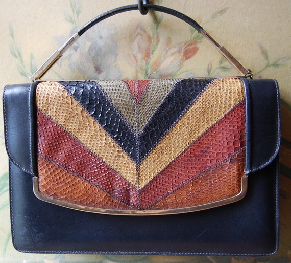 1970's Snake Skin And Leather Earth Tone Handbag Chevron Style