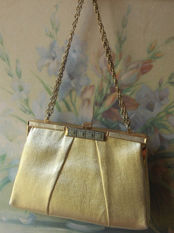 1960's Gold Lame Formal Clutch With Ornate Detailed Front