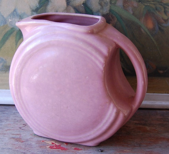 Early Vintage Pink Ceramic Art Deco Pitcher