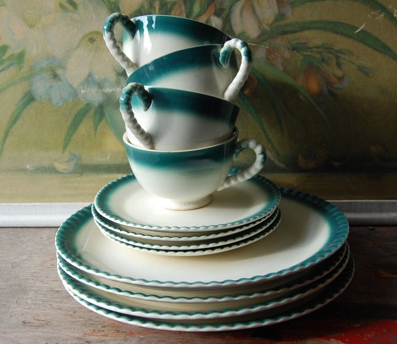 Early Shabby Set Of Twelve Turquoise Dishes Serves Four