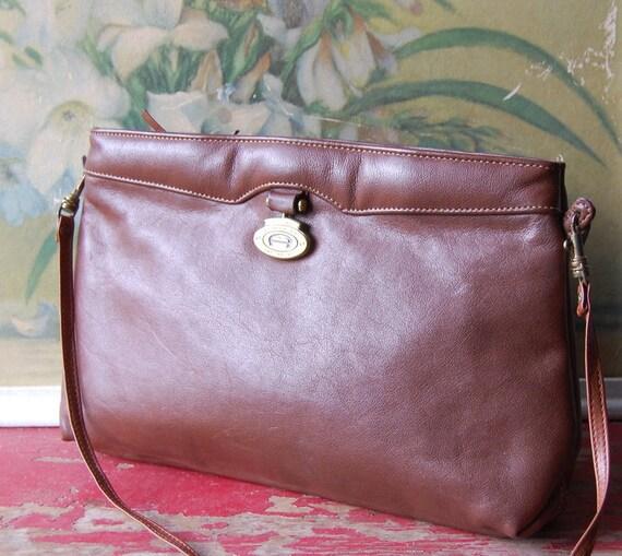 Etienne Aigner 1980's Brown Leather Handbag