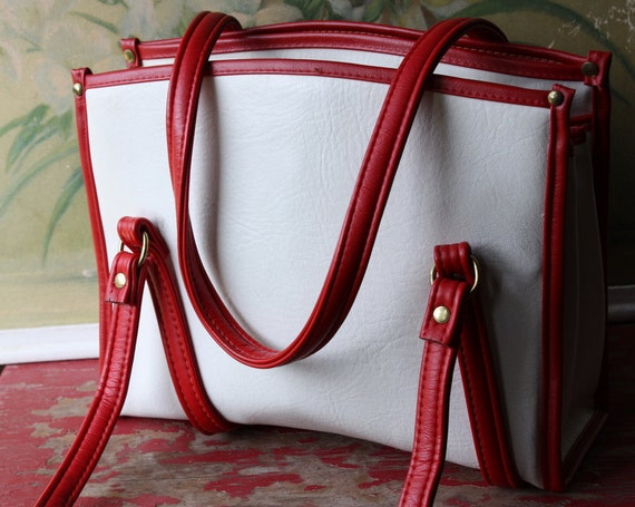 Large Faux Leather White And Red Handbag