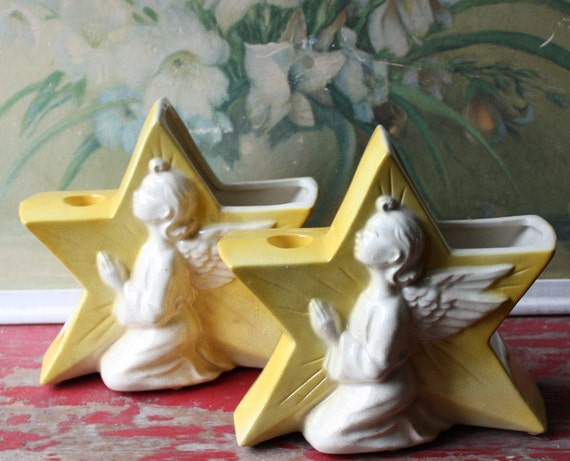 Pair Of Bright Yellow Retro 2 In 1 Planter And Candle Holder