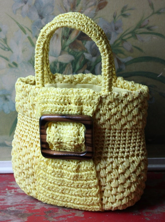 FREE SHIPPING 1970's Bright Yellow Raffia Tote With Wooden Buckle Detail, Summer Tote, Boho Yellow Purse