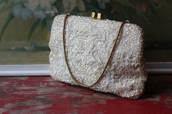 1960's Heavily Beaded Italian Ivory Handbag