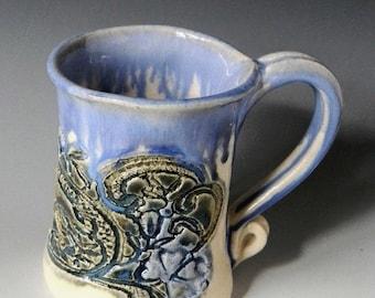 Blue and white mix lace impressed 12oz mug