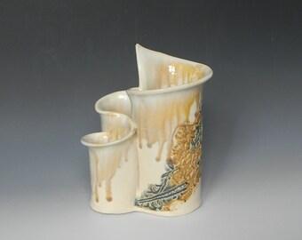 Handmade Ceramic Desk Organizer / Utensil Holder / Vase