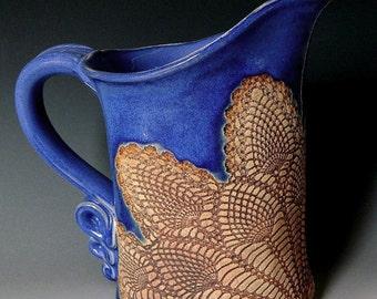 Cobalt Blue Pineapple Lace Impressed Ceramic 1 Quart Pitcher