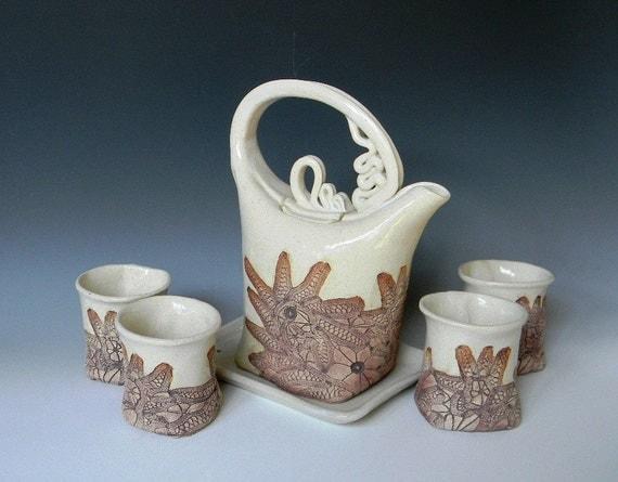 White Ceramic Lace-Impressed 4-Cup Tea Set