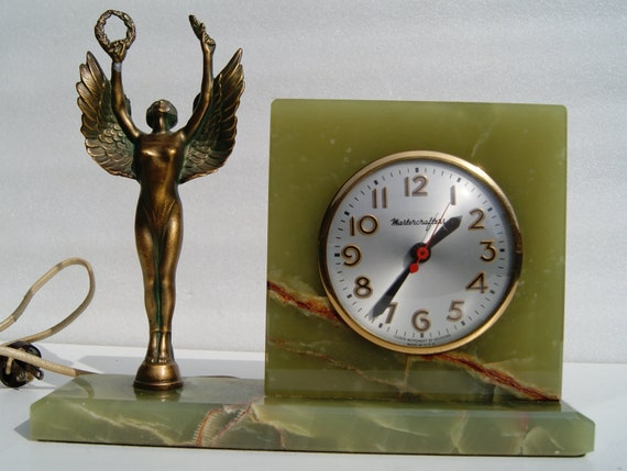 RESERVED FOR DENISE Vintage 1930s Art Deco Green Onyx Mastercrafters Sessions Mantle Electric Clock Nike Winged Victory Greek Goddess
