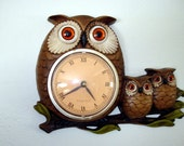 Vintage Retro Shabby Chic Owl and Babies Early 1970s GROOVY  Wall Clock