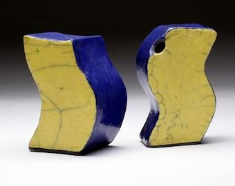 Original abstract modern sculpture - blue and yellow