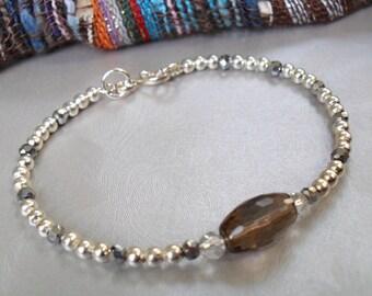 Smoky Quartz Beaded Bracelet