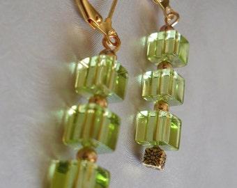 Bright Green Leverback Earrings