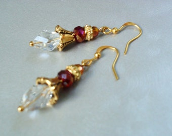 Gold and Crystal Earrings