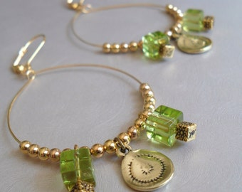 Green and Gold Coin Earrings
