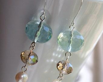 Beaded Crystal and Pearl Earrings