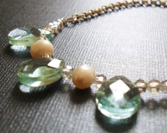 Aquamarine Briolette and Pearl Necklace