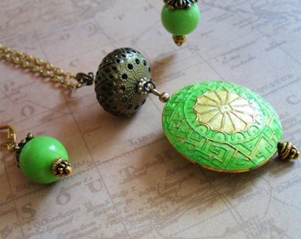 Enamel Cloisonne Pendant with Matching Earrings