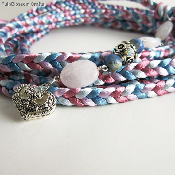 Handfasting Cord Shabby Chic Winter Wedding Pink and Blue