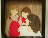 Custom cut paper child and family portrait