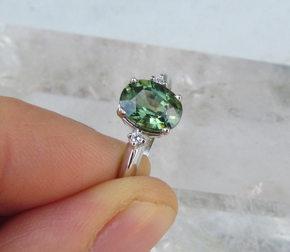 Green Sapphire 10K White Gold Ring with Diamond Accents
