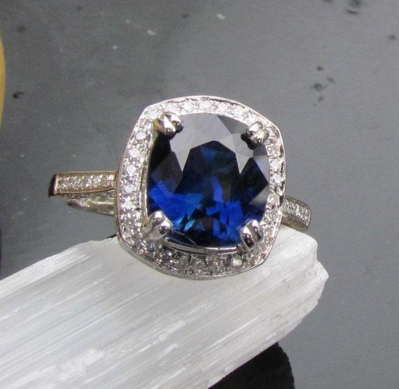 Ceylon Blue Sapphire Square Cushion 14K Gold and Diamond Halo Engagement or Anniversary Ring September Birthstone Gemstone