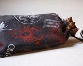 Scorpio print medium tarot bag with bronze trim