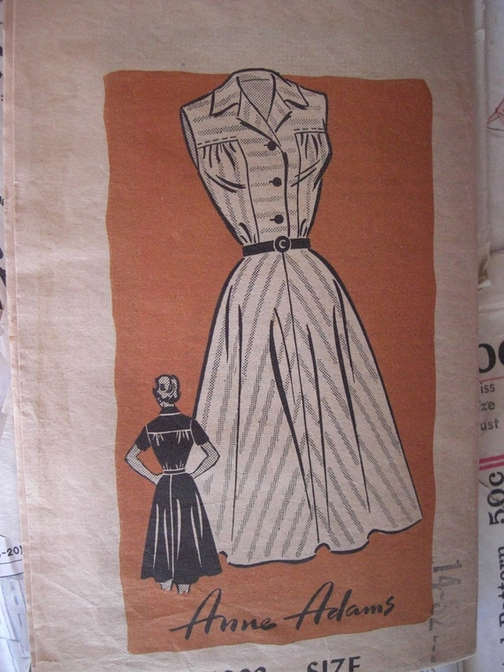 Vintage Sewing Pattern 1950s Sleeveless, Short Sleeve, or Long Sleeve Dress